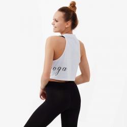 Nui Yoga Baskılı Crop Top Beyaz - Thumbnail