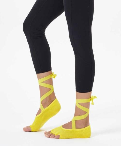Sarı Kayışlı Yoga & Pilates Çorabı
